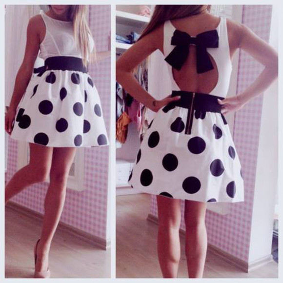 dress noeud noir robe robes sexy pois girly dos nu