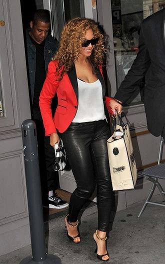 jacket beyonce red blazer leather pants black tank top