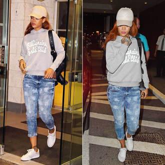 jeans sweater sweatshirt hat rihanna sneakers boyfriend jeans shoes