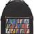 Fendi - logo print backpack - women - Cotton/Calf Leather/Polyamide/Spandex/Elastane - One Size, Black, Cotton/Calf Leather/Polyamide/Spandex/Elastane