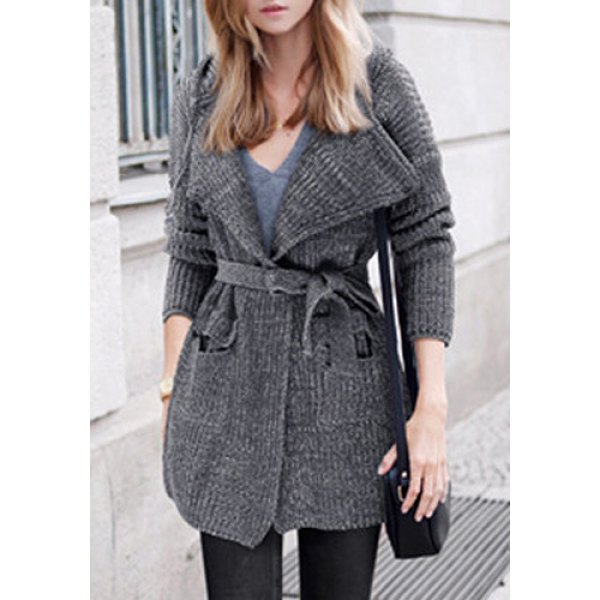 Hooded Long Sleeve Solid Color Pocket Design Belted Cardigan For Women