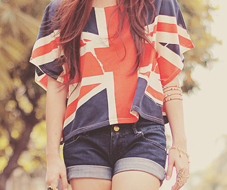 tank top shorts blue denim flag england englandflag buy top t-shirt baggy big oversized white red