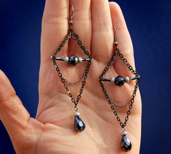Geometric dangle earrings minimalist jewelry by MyFantasies