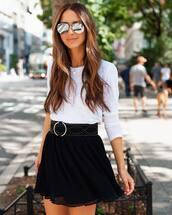 skirt,mini skirt,pleated,white blouse,belt,sunglasses,chain necklace
