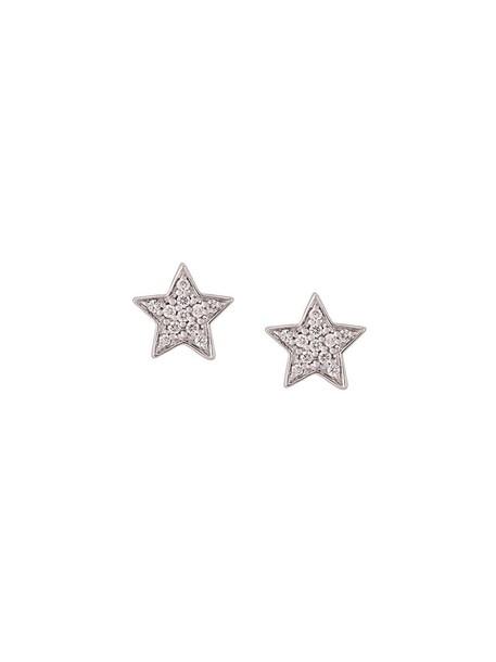 mini women earrings gold white grey metallic jewels