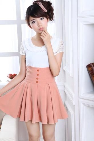 shirt pink high waist buttons skirt gloves