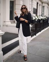 jacket,blazer,black blazer,long blazer,top,pants,sunglasses,white pants,shoes