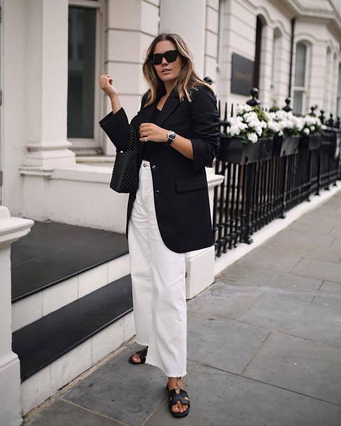 jacket blazer black blazer long blazer top pants sunglasses white pants shoes