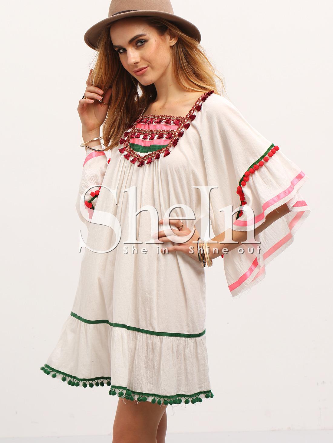 Beige Pom Pom Trim Ruffle Shift Dress -SheIn(Sheinside)