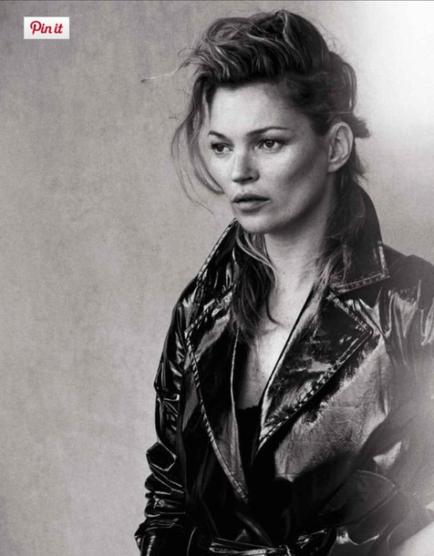 kate moss model trench coat boyish