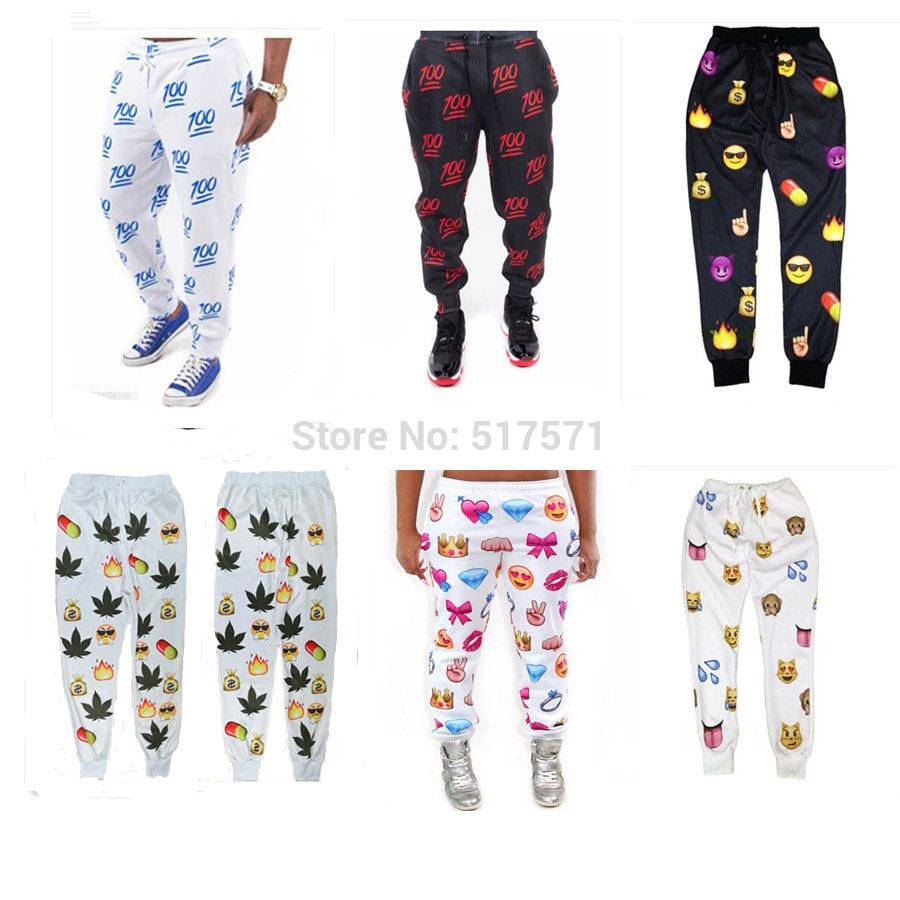 Women /man 3d 100 emoji joggers pants white/black for men/boy sweatpant trousers cartoon outfit clothes