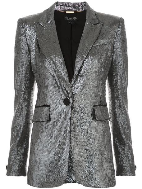 jacket sequin jacket women spandex grey metallic