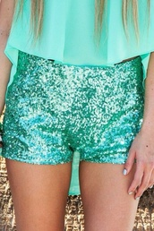 shorts,green,mint,sequins,Sequin shorts,blue sequins,blouse,see through the shirt,teal,teal shirt,see through blouse,sparkle shorts,teal shorts,teal sparkle shorts,teal sequin shorts