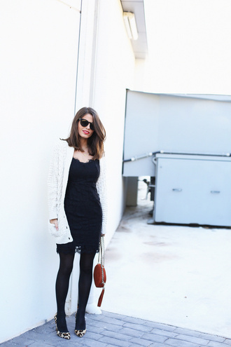 seams for a desire blogger cardigan little black dress lace dress leopard print high heels dress shoes bag jewels skirt
