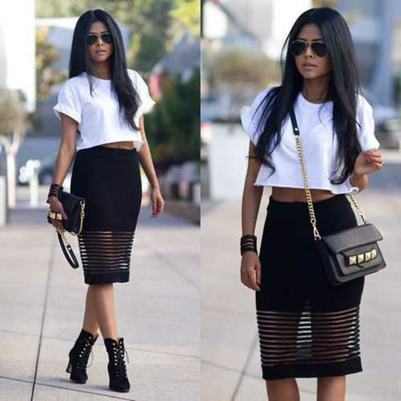 cuff skirt sunglasses basic top bag boots