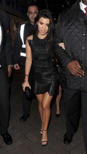 dress,leather,leather dress,kourtney kardashian,sandals,black dress,black,shoes