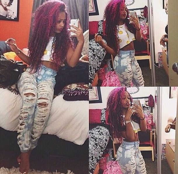 jeans bleached acid wash jeans ripped jeans high waisted ripped jeans ripped bahja rodriguez