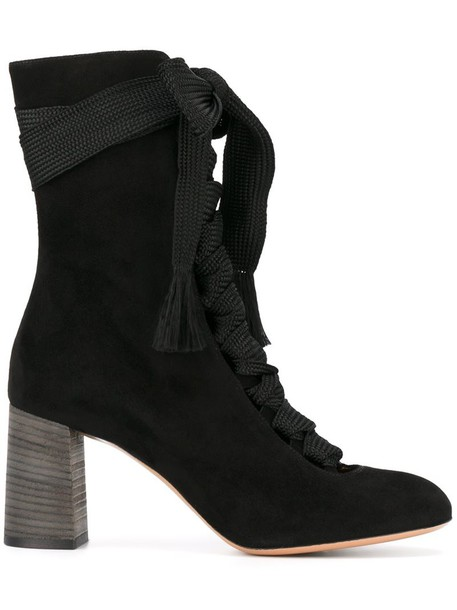 Chloe women ankle boots leather suede black shoes