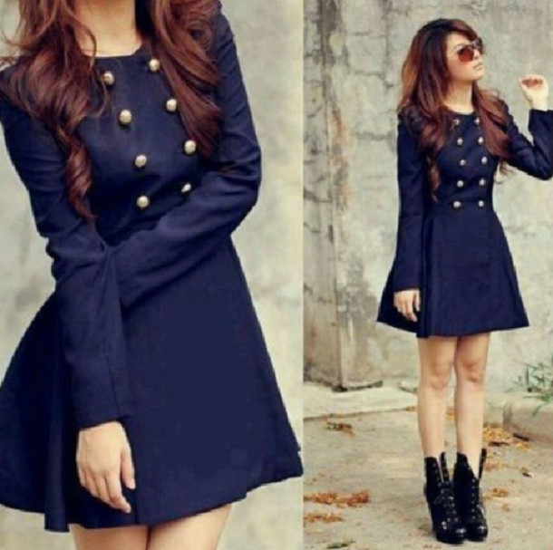 Coat: dress, navy, jacket, blue trenchcoat, blue, look, nice, girl ...