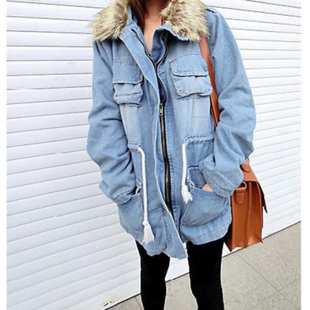 Jacket denim coat fur denim jacket fur coat fall outfits - Wheretoget