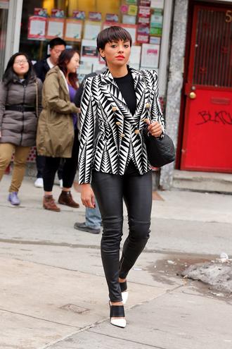 jacket blazer kat graham black and white