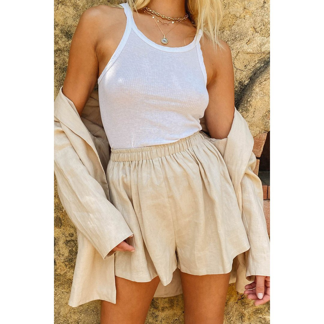 VG Summer Somewhere Linen Shorts // Natural