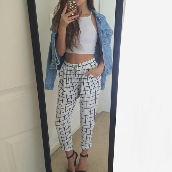 jacket denim jacket jogger white crop top style trousers