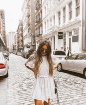 madison lane,blogger,dress,scarf,bag,sunglasses,white dress