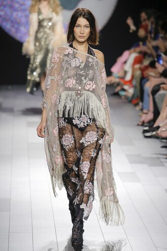 dress cover up bella hadid model runway nyfw 2017 ny fashion week 2017 see through see through dress floral flowers anna sui