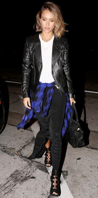 skirt maxi skirt shirt jacket sandals jessica alba plaid shirt sweater