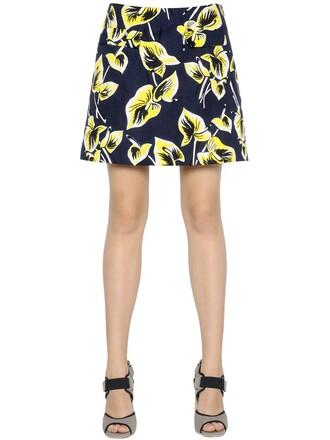 skirt floral cotton navy yellow