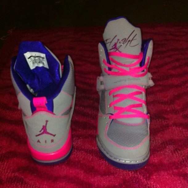shoes, blue, pink, hot pink, grey, high tops, flight, swag ...
