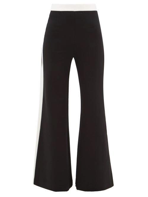 Staud - Side-stripe Wide-leg Jersey Trousers - Womens - Black White