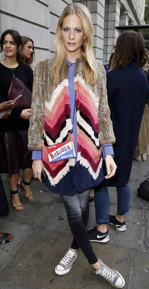 coat poppy delevingne fashion week 2014 jeans