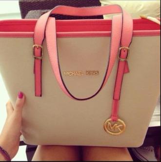bag micheal kors bag pink and white