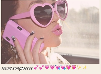 sunglasses heart sunglasses bubblegum pink pink sunglasses phone cover