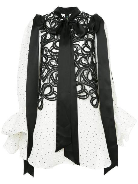 blouse bow women white silk top