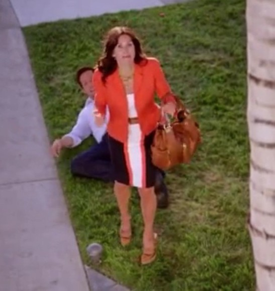 dress orange dress little black dress white dress cougar town courteney cox