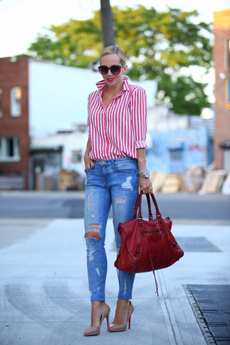 brooklyn blonde jeans shoes bag jewels stripes red shirt striped shirt top casual chic blogger fashion collar stripe shirt blouse