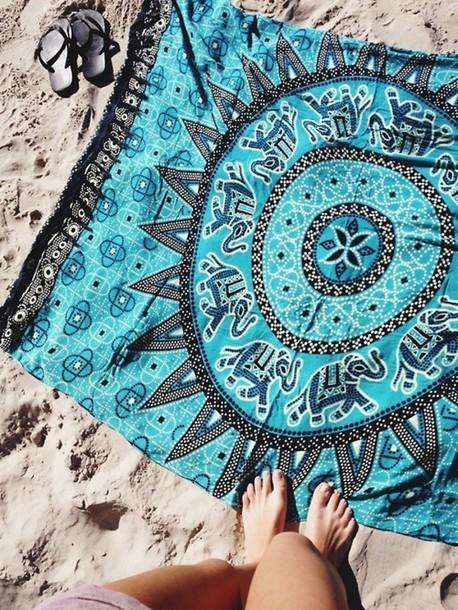 swimwear blue towel elephant beach towel mandala jewels blanket blue boho sheet doormat cloth tribal pattern beach sunny sand hippie tapestry towel elephant vintage beach towel