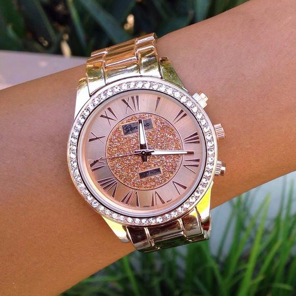 cute jewels bracelets rose gold roman numerals bracelet watch studs shimmer glitter