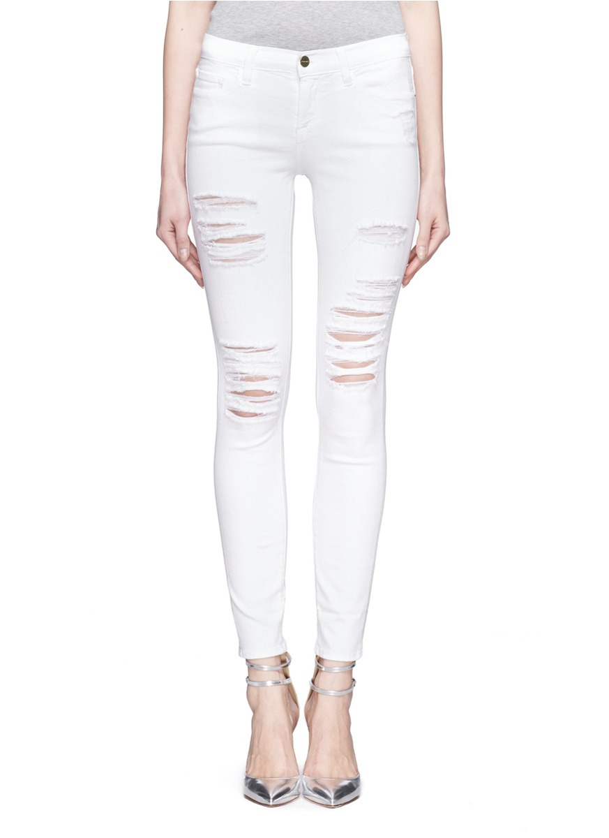 DENIM - 'Le Color Rip' distressed skinny jeans | White Cropped ...