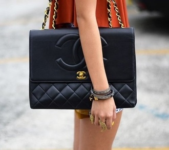 bag chanel bag black purse black and gold