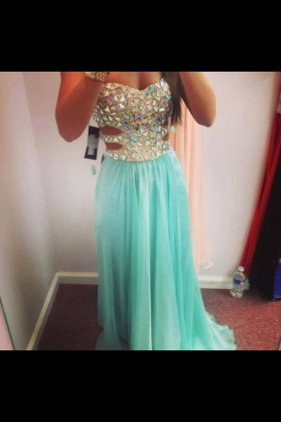 dress maxi dress prom dress mint blue strapless dress bling sparkle ...
