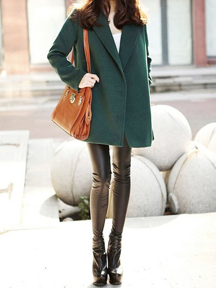 green coat fashion notch lapel double breasted vintage tweed long