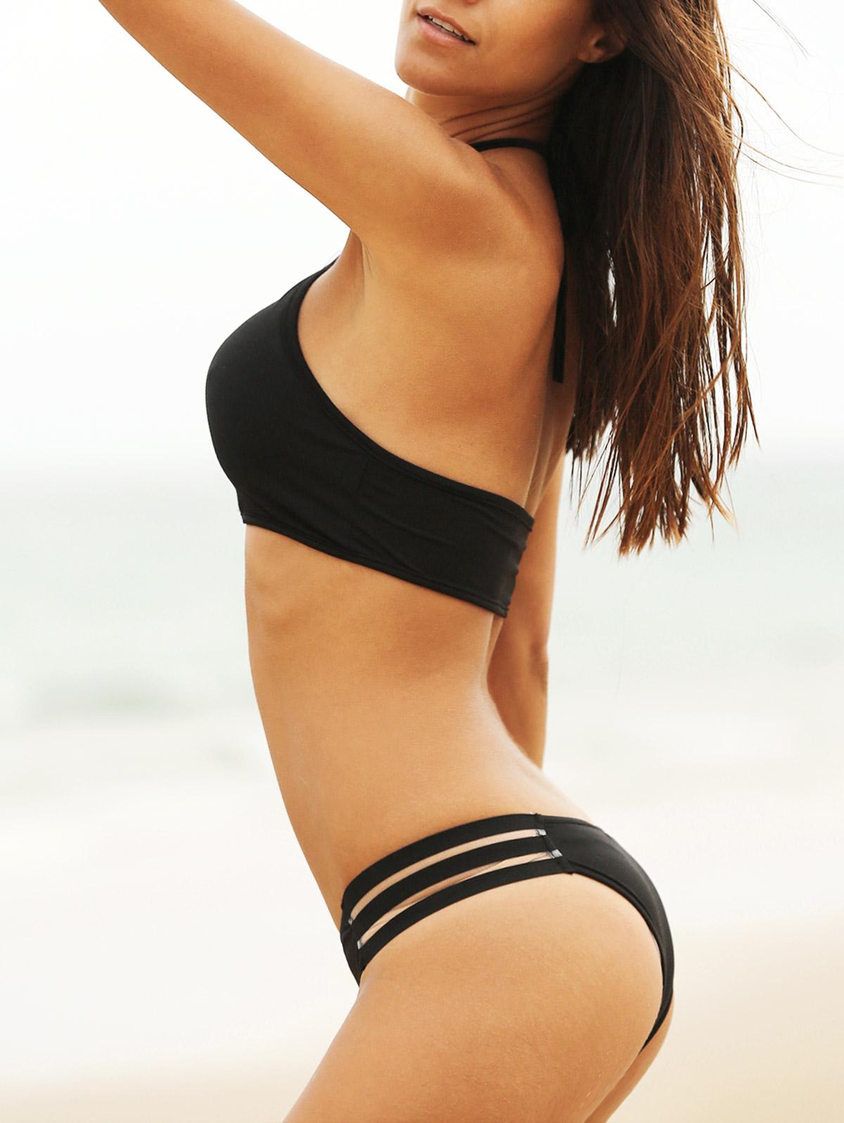 Mesh Panel Halterneck Bikini Set