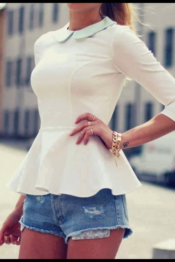 blouse top coat shirt white peplum top white white top