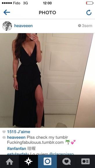 dress black v neck dress
