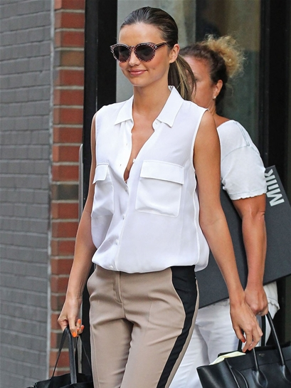 Equipment Signature Sleeveless Blouse in Bright White as seen on Miranda Kerr and Kim Kardashian
