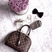 bag,tumblr,brown bag,louis vuitton,louis vuitton bag,perfume,chloe,dior,bracelets,earrings